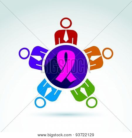 Breast cancer awareness idea. Group of people cooperating - international association for female hea