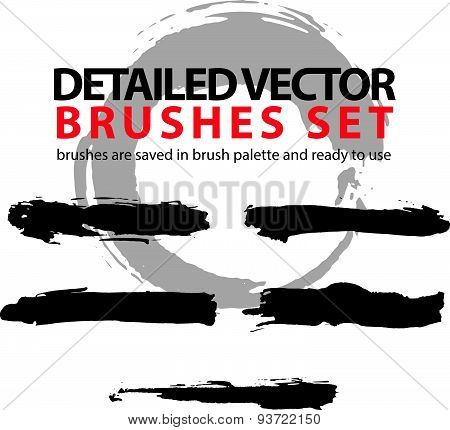 Collection of vector scanned and traced black brush strokes, torn hand-drawn realistic strokes.