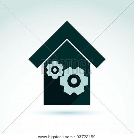 Factory icon vector.