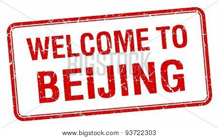 Welcome To Beijing Red Grunge Square Stamp