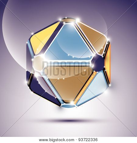 Abstract 3D twinkle festive sphere with sparkles, bright glossy mirror ball created from triangles,