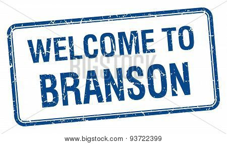 Welcome To Branson Blue Grunge Square Stamp