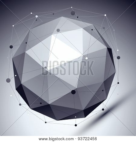 Geometric vector abstract 3D complicated lattice backdrop, single color eps8 asymmetric sharp tech i