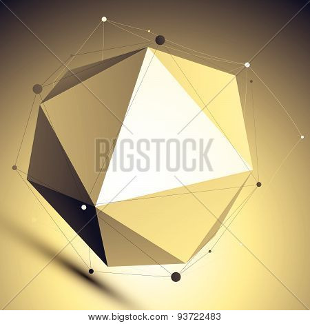 3D colorful modern technology abstract background, origami spherical facet structure with lines mesh