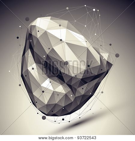 Abstract deformed vector undertone asymmetric object with lines mesh placed over dark background.