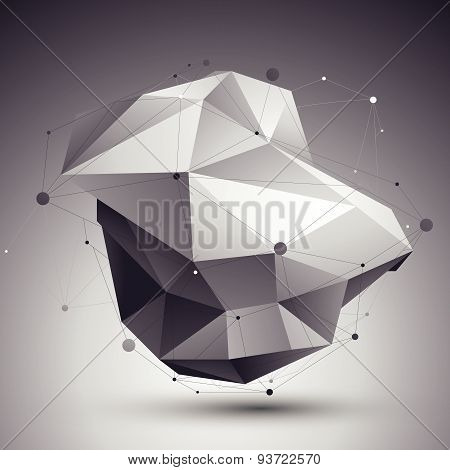 3D vector abstract design template, polygonal complicated contrast figure with lines mesh placed ove