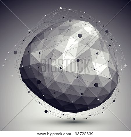 3D mesh modern stylish abstract background, origami rounded facet structure.