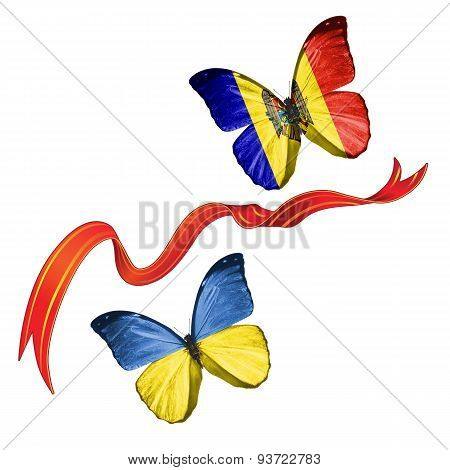 Two butterflies with symbols of Ukraine and Moldova