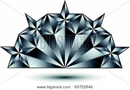 Glamorous vector template with pentagonal silvery stars, best for use in web and graphic design.