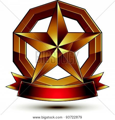 Golden symbol with stylized pentagonal glossy star and red decorative curvy ribbon