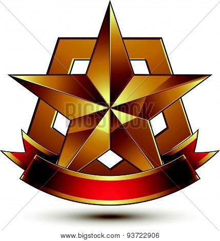 3d golden heraldic blazon with glossy pentagonal star, best for web and graphic design, clear EPS8