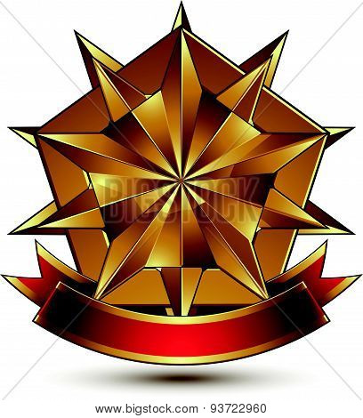 Vector complicated glossy design element. Luxury 3d polygonal golden star placed on a decorative bla