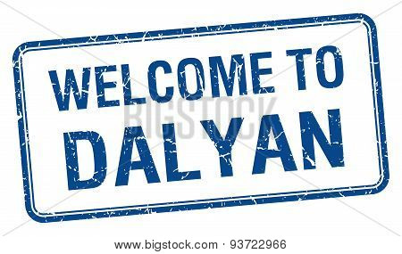 Welcome To Dalyan Blue Grunge Square Stamp