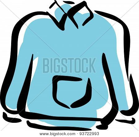 Illustration of blue sweater for men, isolated hand drawn vector clothing.