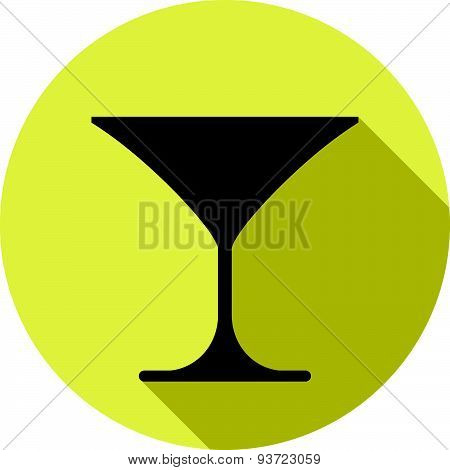 Classic martini glass, alcohol and entertainment theme illustration. Party lifestyle graphic goblet