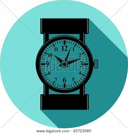 Stylish wristwatch illustration, elegant timepiece with dial and an hour hand. Design emblem