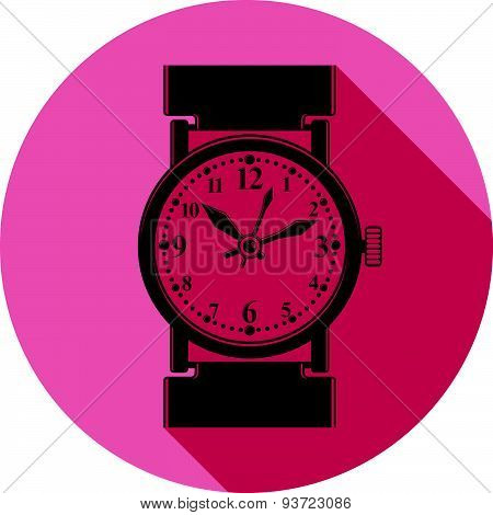 Stylish wristwatch illustration, elegant timepiece with dial and an hour hand. Design