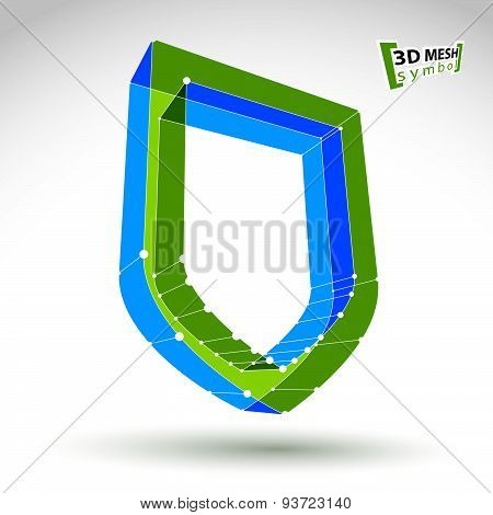 3d mesh web green security icon isolated on white background, colorful ecology shield symbol