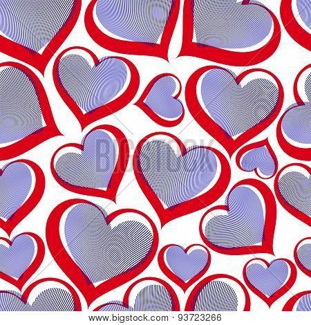 Valentines day conceptual art backdrop, loving hearts. Love theme vector seamless background