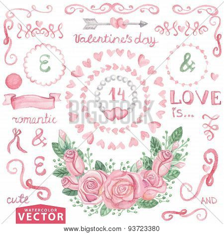 Watercolor Valentine's day,wedding set.Pink roses,Cute decor