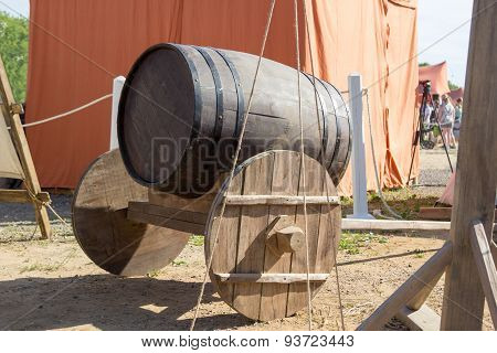 Ancient Wooden Cart With Wooden Barrel