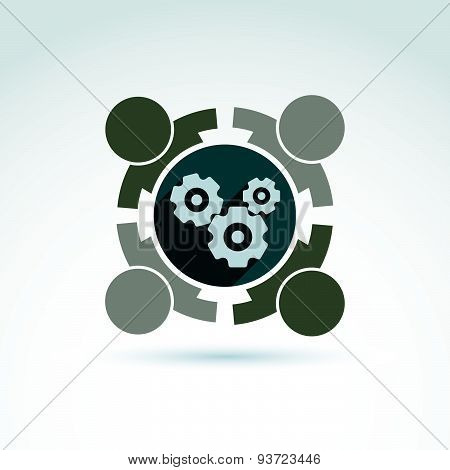 Gears and cogs teamwork theme icon, vector conceptual stylish symbol for your design.