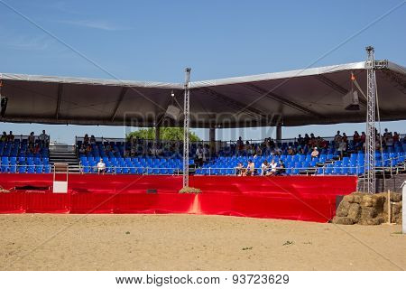 Grandstand With Spectators In The Arena Of The Festival