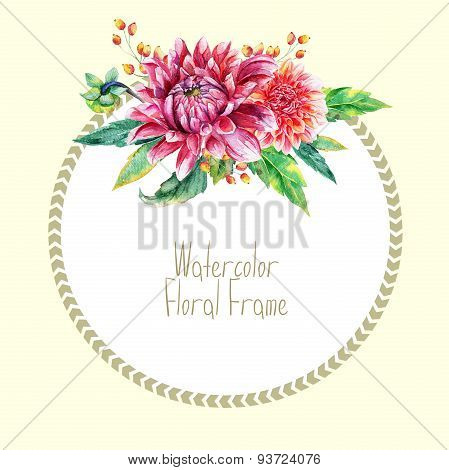 Greeting Card With Red Dahlia.