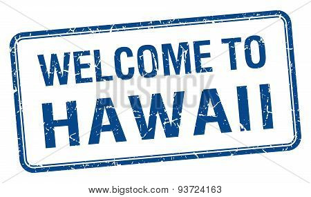 Welcome To Hawaii Blue Grunge Square Stamp