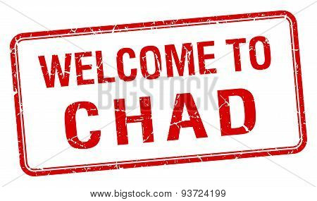 Welcome To Chad Red Grunge Square Stamp
