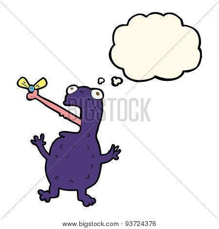 cartoon poisonous frog catching fly with thought bubble