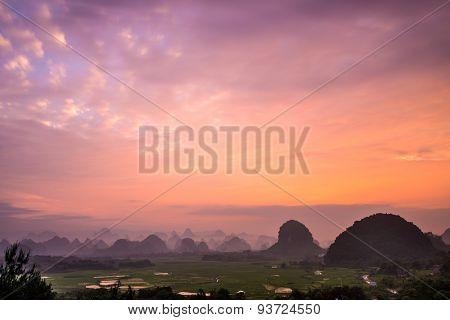 Karst Mountain Landscape in Guilin, Guangxi, China.