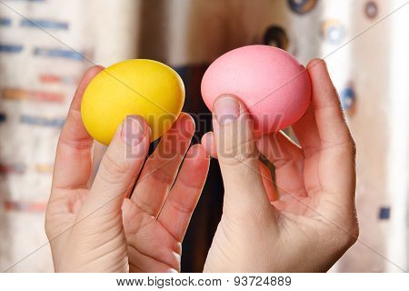 Hands Holding Easter Eggs For Battle