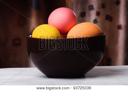 Easter Eggs In A Brown Bowl