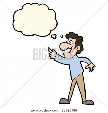 cartoon man pointing and laughing with thought bubble