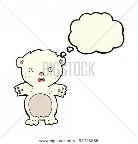 frightened polar bear cartoon with thought bubble
