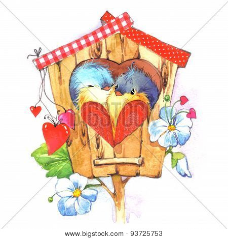 Cute birdand heart illustration watercolor
