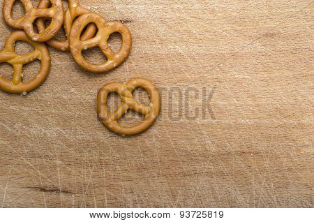 Pretzels on Wooden Table - Snacks Background