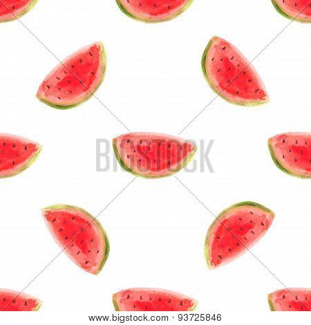 Watercolor Watermelon Slice Vector Illustartion. Raw Fruit Food