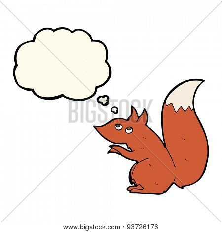 cartoon red squirrel with thought bubble
