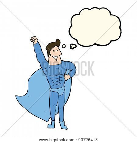 cartoon superhero with thought bubble