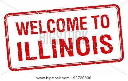 Welcome To Illinois Red Grunge Square Stamp