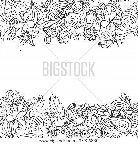 Hand Drawn Floral Vector Doodle Top And Down Border Card Design