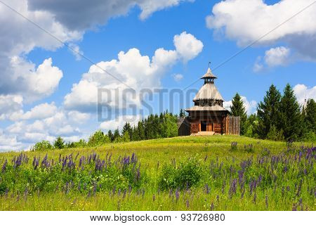 Wooden Watchtower In Museum Under Open Sky In Khokhlovka
