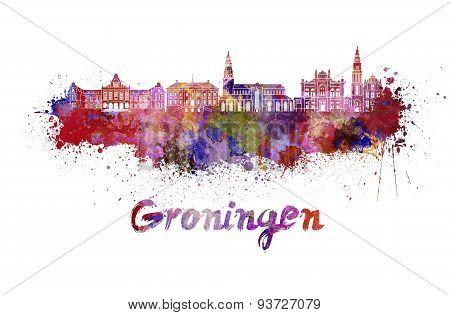 Groningen Skyline In Watercolor