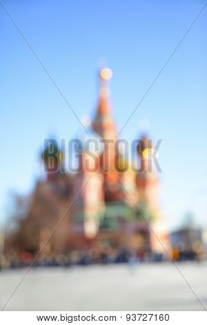 Cathedral on Red Square in Moscow out of focus - bokeh backround