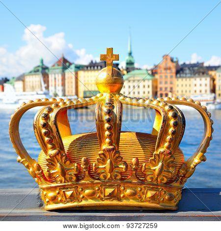 Crown on a bridge railing in Stockholm, Sweden