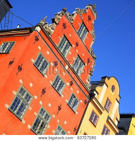 Old houses on Stortorget square in Gamla stan, Stockholm. Tilt composition