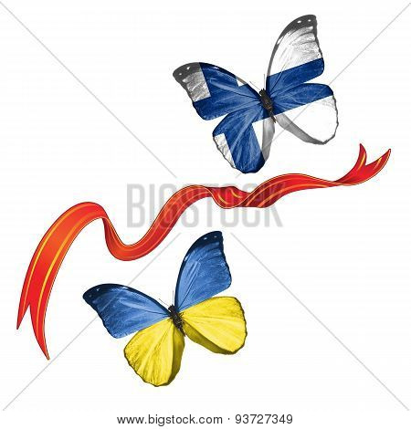 Two butterflies with symbols of Ukraine and Finland