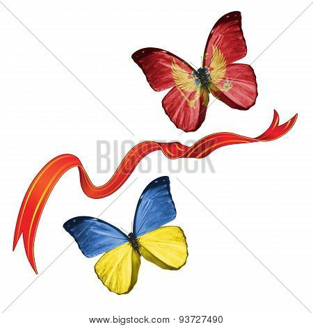 Two butterflies with symbols of Ukraine and Montenegro